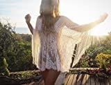 Soft Lace One Size Caftan Dress with Fringes, Bohemian Beach Wedding Dress