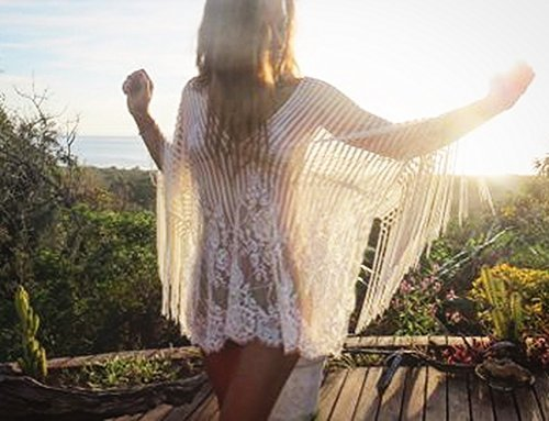 Soft Lace One Size Caftan Dress with Fringes, Bohemian Beach Wedding Dress by Unique Boutique By Yasmin