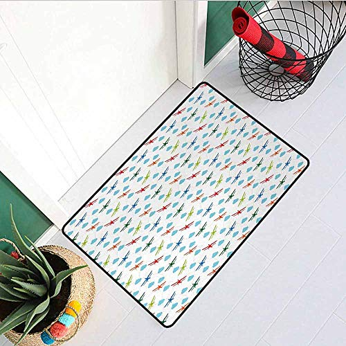 GloriaJohnson Airplane Universal Door mat Travel Around The World Theme with Colorful Retro Biplanes Air Route Dashed Lines Door mat Floor Decoration W19.7 x L31.5 Inch Multicolor]()