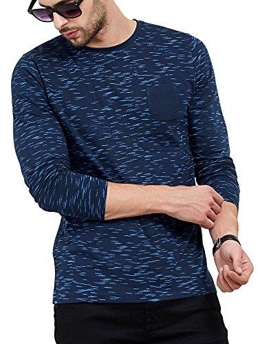 Maniac Men's Fullsleeve Round Neck All Over Printed Navy Cotton Tshirt