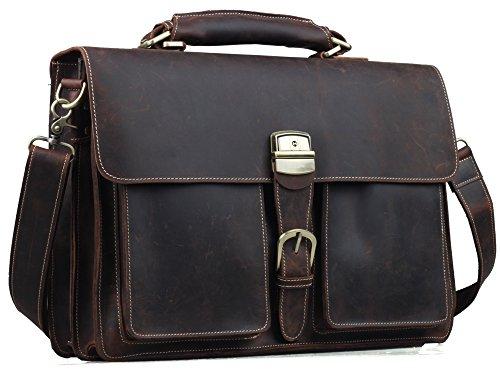 "Tiding Men's Dark-brown Leather Briefcase 16"" Laptop Bag Vintage Style 10319"