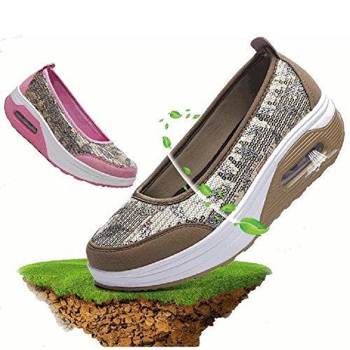Toe De Or Semelle Ronde Slip Maille Sport Casual Bluelover Chaussures Rose Rocker Santé On Athletic 7 7g1qI