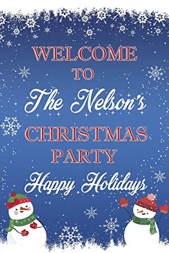 (Winter Snowman Christmas Party Sign Winter Holiday Theme with Snowman and Snowflakes Welcome Sign For a Merry Xmas Party Celebration Handmade Party Supply Poster Print)