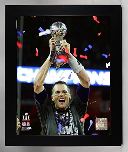 Framed New England Patriots Tom Brady Holds The Super Bowl LI Trophy. 8x10 Photo Picture. (LI Trophy