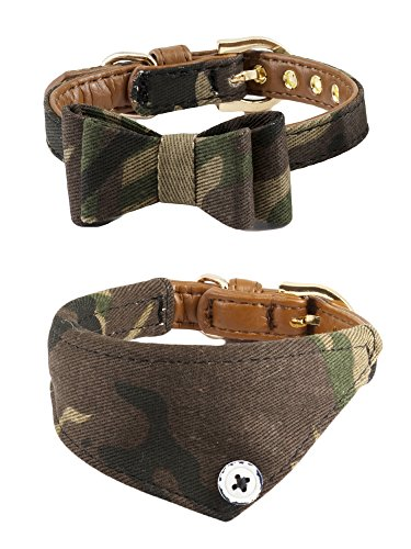 Gyapet Collar for Cat Small Dog Bandana Bowtie Puppy Kitten 2 Packs Adjustable Scarf Cute Camo ()