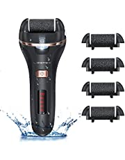 Liberex Electric Callus Remover - Rechargeable Foot File Callus Shaver Hard Skin Remover Pedicure Tools with 4 Roller Heads, for ed Heels Calluses and Dead Skin, 2 Speed, Battery Display