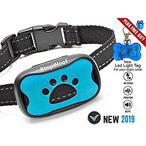 Dog Bark Collar-New Version 2019-Sound & Vibration Humane Training Collar for Small, Medium & Large Dogs- No Shock Safe Pet Waterproof Device-Free!!-New LED Light Tag! 19