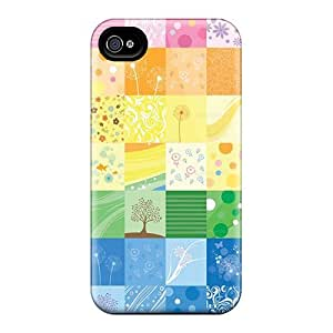 Tpu Saraumes Shockproof Scratcheproof Rainbow Quilt Hard Case Cover For Iphone 4/4s