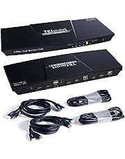 TESmart DisplayPort + HDMI 2x2 Dual Monitor KVM Switch 4K@60Hz   Mechanical & Multimedia Keyboards   USB 2.0 Devices   Audio Output   2 Port Updated KVM Switch (Black)