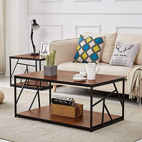 VECELO Modern Coffee Tea, Double Storage Space Wooden Side End Table with Black Metal Frame(40in), Cocktail, Brown