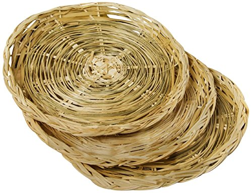 """Fox Run 9"""" Paper Plate Holders Support Set of 4 Woven Rattan Basket Picnic New"""