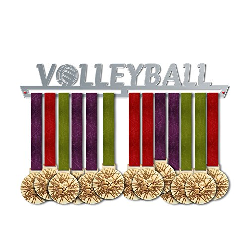 VICTORY HANGERS Volleyball Medal Hanger Display - Wall Mounted Award Metal Holder - 100% Stainless Steel Rack for Champions ()