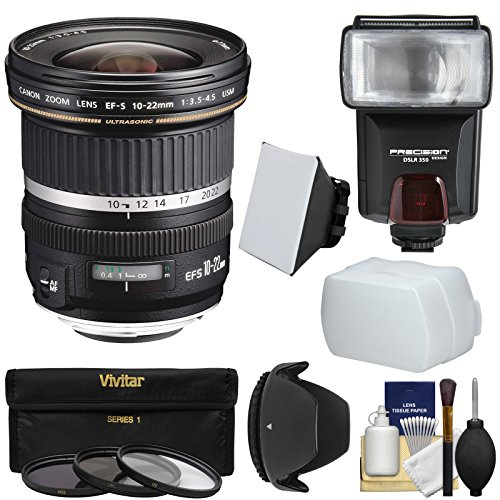 Canon Eos 450d Kit (Canon EF-S 10-22mm f/3.5-4.5 USM Ultra Wide Angle Zoom Lens + Flash + 3 Filters + Diffusers + Hood Kit for EOS 70D, 7D, Rebel T5, T5i, T6i, T6s, SL1 Camera)