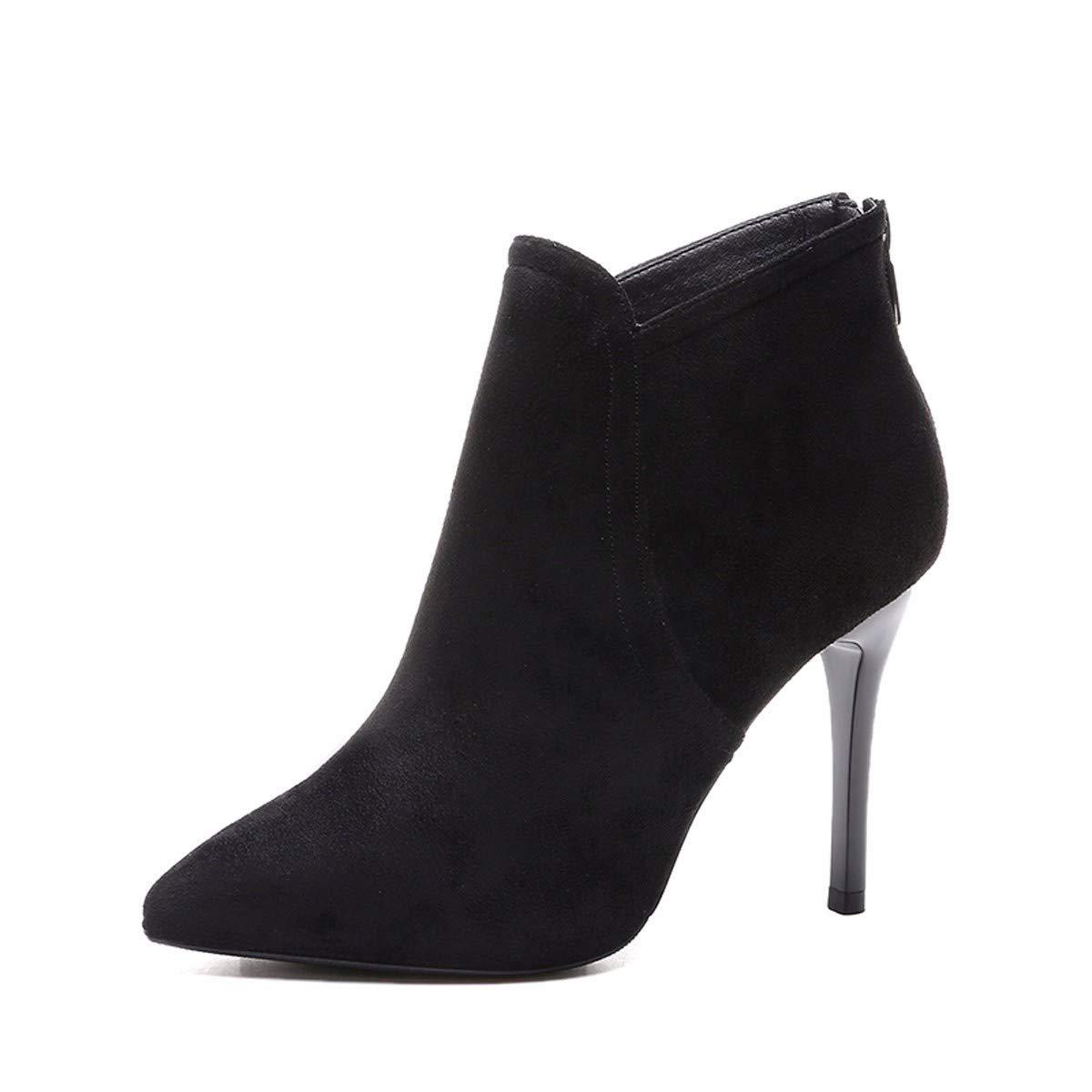 LBTSQ-Mode/Damenschuhe/Samt Kurze Stiefel High 9Cm Dünne Sohle Spitze Wildleder Schwarz Wild Ma Dingxue