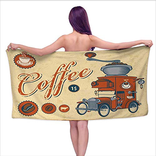 Grinder Coffee Dynasty - Bath Towels Egyptian Cotton Retro,Artsy Commercial Design of Vintage Truck with Coffee Grinder Old Fashioned,Cream Orange Grey,W12 xL35 for Baby Girl