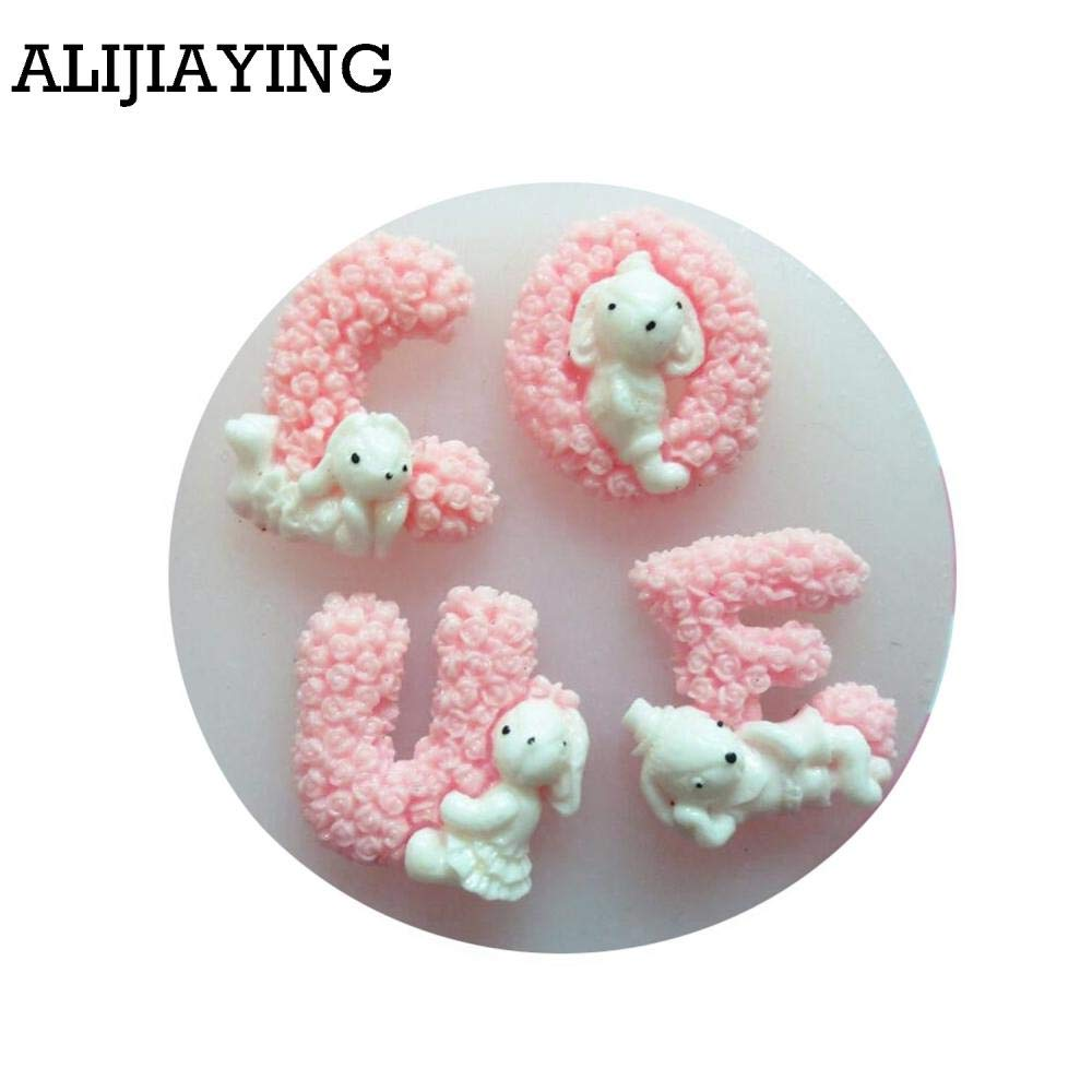 Amazon.com: Rose Flowers Love Letter Form Fondant Silicone Mold For Wedding Cake Decorating Tools Rabbit Baking Mould: Kitchen & Dining