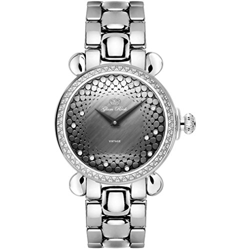 Glam Rock Women's Vintage 34mm Steel Bracelet & Case Swiss Quartz Grey Dial Analog Watch GR28054DS