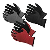Task Gloves Mechanical Task Premium Synthetic Leather Black/Grey/Red Work Gloves - 3-Pack - Medium