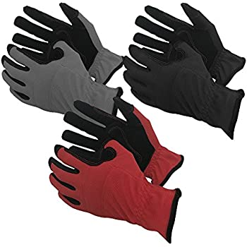 Task Gloves (3-Pack) Mechanical Task Premium Synthetic Leather Black/Grey/Red Work Gloves - M
