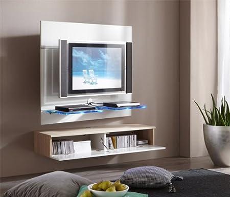 Tv möbel wandsysteme  TV Wand Wandpaneel Paneel mit Lowboard Glasboden weiss / sonoma ...