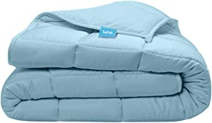 LUNA Kids Weighted Blanket | Natural Silky Cooling Bamboo & Premium Glass Beads | 12 lbs - 48x72 - Full Size Bed | Designed in USA | Heavy Cool Weight for Hot & Cold Sleepers | Light Blue