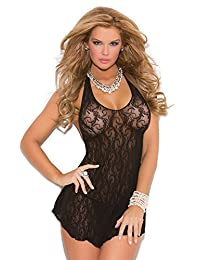 Plus Size Lingerie Sexy Lace Halter Mini Dress - Fits Size 14-18
