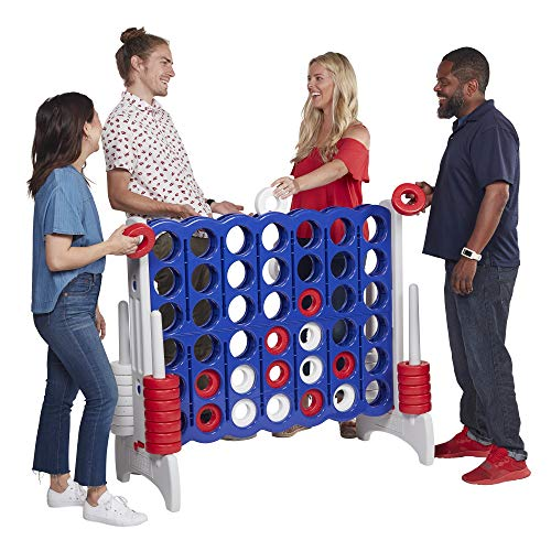 ECR4Kids Jumbo 4-to-Score Giant Game Set - Oversized 4-in-A-Row Fun for Kids, Adults and Families - Indoors/Outdoor Yard Play - 4 Feet Tall - Red, White, and Blue