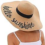 Lanzom Womens Big Bowknot Straw Hat Floppy Foldable Roll up Beach Cap Sun Hat UPF 50+ (Y-Hello Sunshine Khaki)
