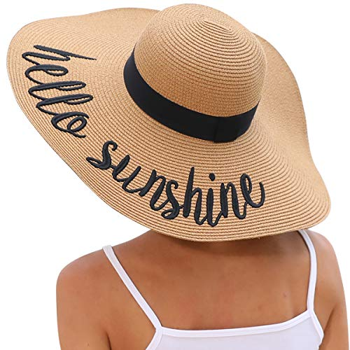 Lanzom Womens Big Bowknot Straw Hat Floppy Foldable Roll up Beach Cap Sun Hat UPF 50+ (Y-Hello Sunshine Khaki) (Beach Hat)