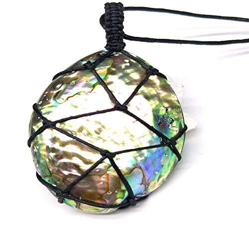cheerfullus Natural Abalone Shell Pendant Healing Stone Gemstone Wand Reiki Wrap Braid Necklace for Men Women