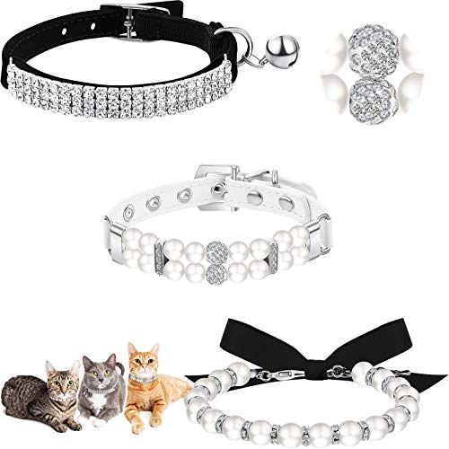 3 Pieces Rhinestones Dog Collar Set Artificial Pearl Dog Collar Adjustable Dog Ribbon Necklace Collar Bling Diamante Cat Collar with Bell for Pet Wedding Birthday Party, 3 Styles