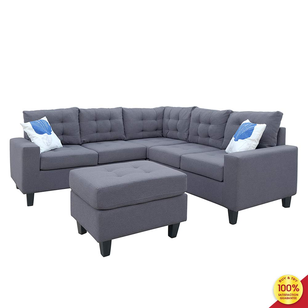 Sofa Sectional Set, Couch Linen-Like Left or Right Hand with Ottoman, 4 Pieces for 5 Seaters, Living Room Furniture, Gray by MOOSENG