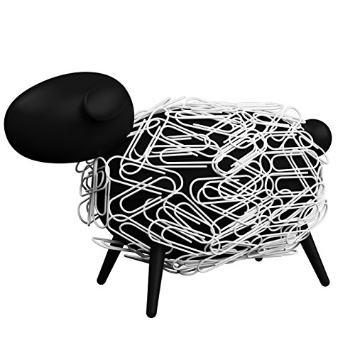 Sheepi-The-Magnetic-Paper-Clip-Dispenser-Sheep-Black-with-White-Paper-Clips-The-Animal-Paper-Clip-Holder-for-Any-Desk