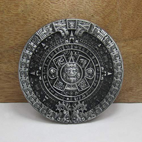Pewter Belt Buckle Aztec Calendar - Buckes - Wholesale Retro Aztec Calendar Circle Jeans Gift Belt Buckle 03217 Pewter Finish for Men 4cm Width Loop