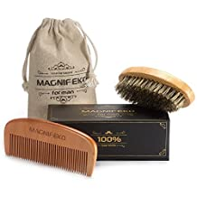 Beard Comb and Brush Grooming Set for Men - Home & Travel Grooming Kit Natural Handmade Boar Bristle Brush & Wooden Comb That Adds Shine & Health to Moustache, Goatee, Dry or Wet Hair By Magnifeko