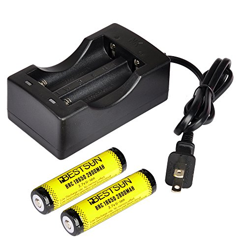 BESTSUN 18650 Protected Rechargeable Batteries, (2 Pack) 2800mAh 3.7V lithium Li-ion 18650 Battery with Charger Combo for Flashlights Torch Headlight Headlamps
