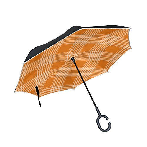 DNOVING Double Layer Inverted Checks Tartan Plaid Orange Umbrellas Reverse Folding Umbrella Windproof Uv Protection Big Straight Umbrella For Car Rain Outdoor With C-shaped Handle
