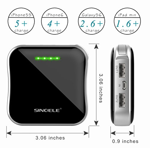SINOELE mini sleek and classy mobile strength Bank 10000mAh seriously skinny strength Pack smartphone cel Charger External LG Battery 2 USB Charger suitable general huge velocity rapid Charging iPhone iPad Samsung black Battery Packs