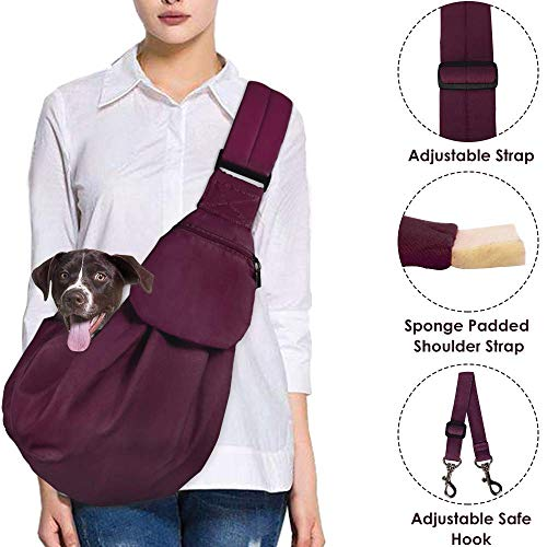 AutoWT Dog Padded Papoose Sling, Small Pet Sling Carrier Hands Free Carry Adjustable Shoulder Strap Reversible Outdoor Tote Bag with a Pocket Safety Belt Dog Cat Carrying Traveling Subway (Burgundy) (Sling Style Pet Carrier)