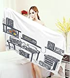 homecoco Modern Wrap Towels Recording Studio with Music Devices Turntable Records Speakers Digital Illustration Quick-Dry Towels Cadet Blue