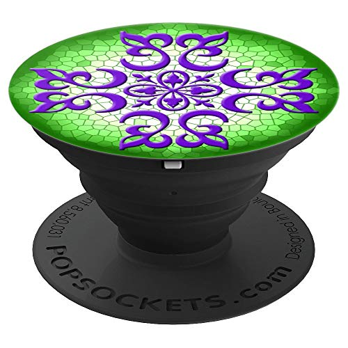 Purple Filigree Green Stained Glass Pop Socket - PopSockets Grip and Stand for Phones and Tablets ()