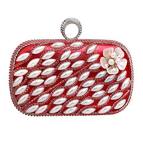 à sac RAPIDLY à Evening Clutch sac Bag Red Pearl main main Fashion Womens q00at