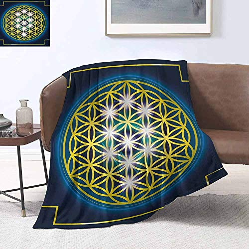 Spiral Scarf Knitting - sunsunshine Blanket Throw Office/Inside The car Plush Throw Blanket Abstract,Flower of Life in Internal Spirals with Vibrant Spots Belief Tradition Design,Indigo Yellow