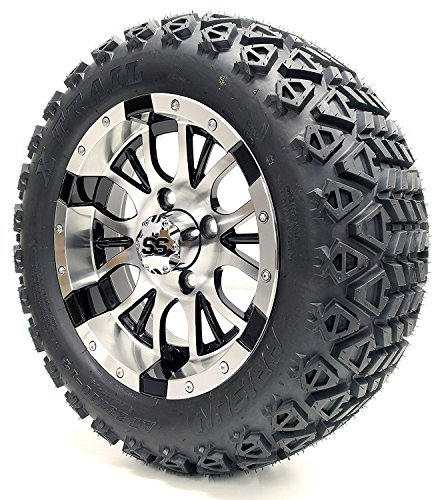 Golf Cart 12'' ''Diesel'' Machined and Black Wheel and 23 x 10.5-12 Golf Cart (6-PLY) ''X-Trail'' All Terrain Tire Combo- -+ GTW Quality Lift Kit Option ((2000.5+) EZGO TXT, Lift Kit) by Golf Cart King (Image #1)