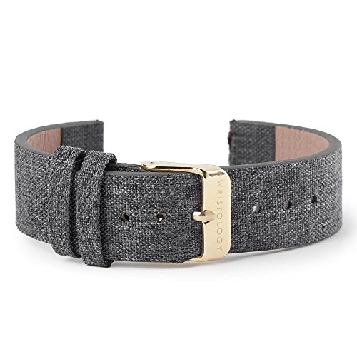 WRISTOLOGY 18mm Womens Grey Tweed Leather Easy Change Interchangeable Strap Band