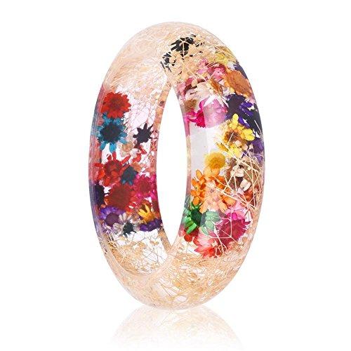 RINHOO Handmade Real Dry Pressed Flower Botanical Rose Garden Transparent Resin Quartz Crystal Bangle Bracelet (Gypsophila 2)