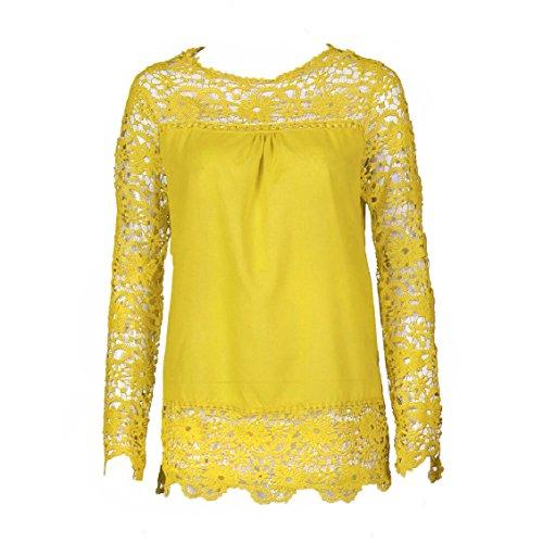 Transer S T Shirt Dentelle longues Tops Mode 9 Casual Chemisier Blouse Femmes shirt Jaune manches XXXXXL Femme ample coton couleurs rTOqrwApg