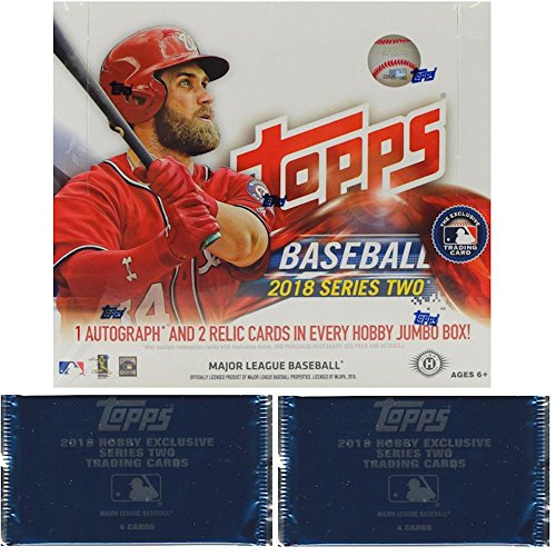 2018 Topps Series 2 MLB Baseball JUMBO box (10 pk plus TWO bonus packs) ()