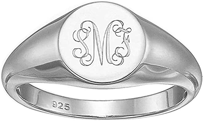 Sterling Silver Ladies Oval Signet Ring L-Q