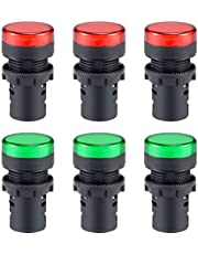 "uxcell 6Pcs AC/DC 24V Indicator Lights, Red+Green LED, Flush Panel Mount 7/8"" 22mm"
